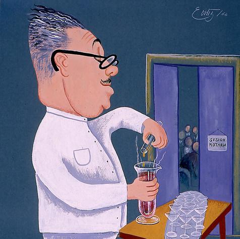 """Químico Leopoldo Romano M.  """"Con mi fórmula insecticida ni un rotario quedará con vida"""" 1966 Gouache / papel 74.3 cm x 62.2 cm"""
