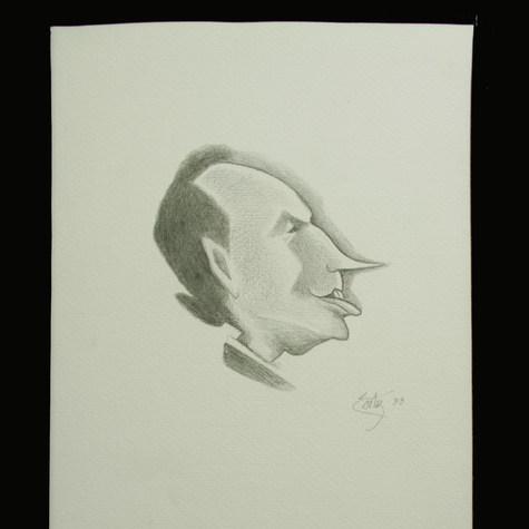 Al poeta Don Everardo le gustaba declamar y al púbico hacer llorar  1933 Lápiz / papel 32.6 cm x 24.7 cm