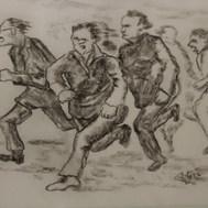 La huída 1992 Carbón / papel 47 cm x 54.5 cm