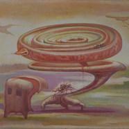 Sacrificio inútil 1980 Acrílico / masonite 57 cm x 90 cm