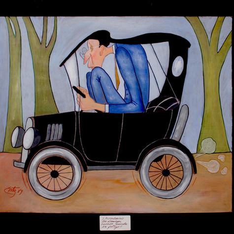 Chema Mercado en los años veinte. ¿Recordareis los domingos, cuándo paseaba en el fotingo? 1989 Mixta / papel 40.5 cm x 50 cm
