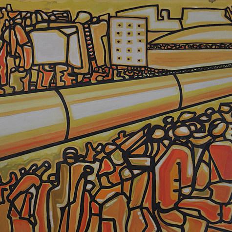 Huelga de petróleo 1974 Oléo / cartón 84.4 cm x 110.2 cm