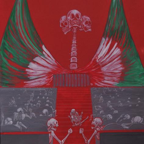 Calavera: Tormenta en el Congreso nos cala hasta los huevos  1997 Acrílico / cartón 112 cm x 86.5 cm