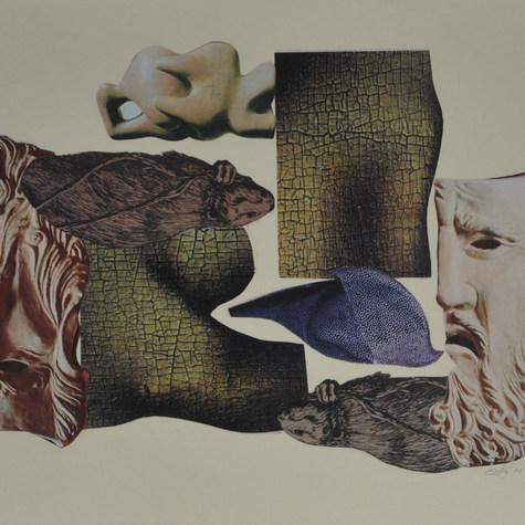 Teatro de máscaras 1990 Collage / papel 50.4 cm x 61 cm