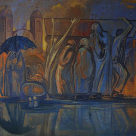 Camino al  camposanto 1958  Óleo / fibracel 92 cm x 120 cm