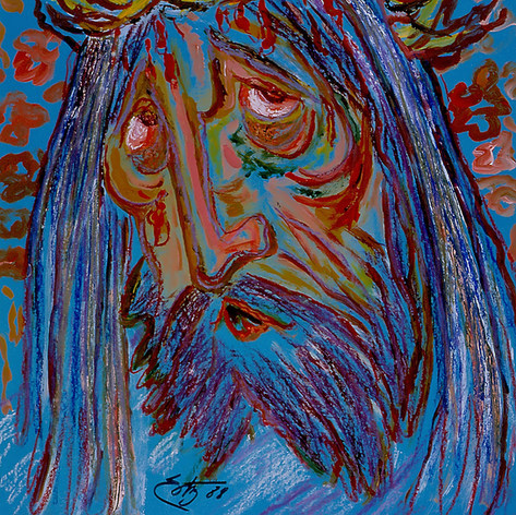 Cristo llorando 1988 Acrílico / papel  54 cm x 60.5 cm
