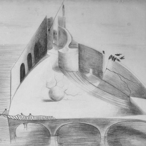 Al final del puente 1956 Lápiz / papel 75.3 cm x 80 cm