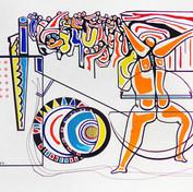 Liberación femenina 1974 Acrílico y tinta / cartón 79 cm x 104.1 cm