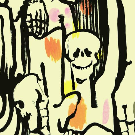 Calaveras modernistas 1977 Acrílico / cartón 128 cm x 87 cm