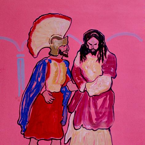 Romano apresando a Jesús. Serie Judea ,Jala III 1991 Acrílico / papel 65 cm x 52 cm