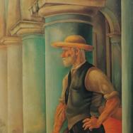 Retrato del sordumudo Gonzalo López: El viejo 1948 Óleo / fibracel 122 cm x 61.5 cm