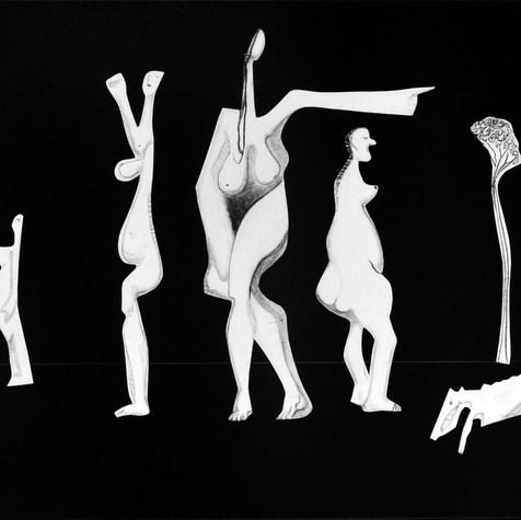 Paseo nocturno 1994  Lápiz y recortes de papel / cartón 59.5 cm x 74.2 cm