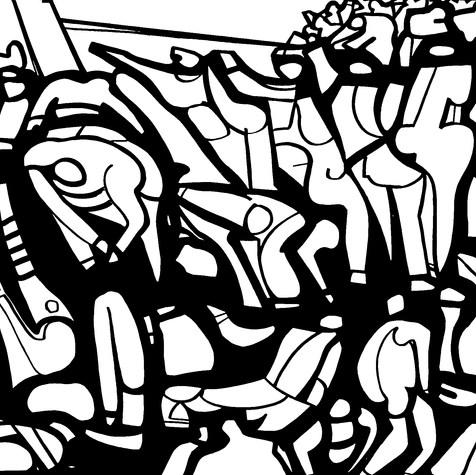 En el muelle 1974 Tinta / cartón 84 cm x 108.2 cm