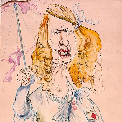 "Conchita Delgado. ""Este ilustre personaje bien mereció un homenaje"" 1966 Acuarela / papel 76.9 cm x 54 cm"