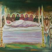 El Santo entierro 1988 Acrílico / tela 83 cm x 120.5 cm