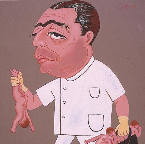 """Dr. Gutiérrez Ibarra. """"Mundo de niños sin fin… ¡un caos es mi maletín!"""" 1966 Acrílico / papel 68.4 cm x 58.7 cm"""
