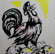 El gallito cantor 1976 Tinta y acrílico / cartón  63 cm x 48.2 cm