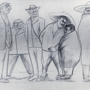 Los turistas s/f Lápiz / papel 49 cm x 64 cm
