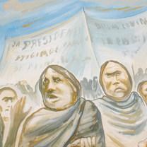 Huelga de trabajadores 1985 Acrílico / cartón 66 cm x 81.3 cm
