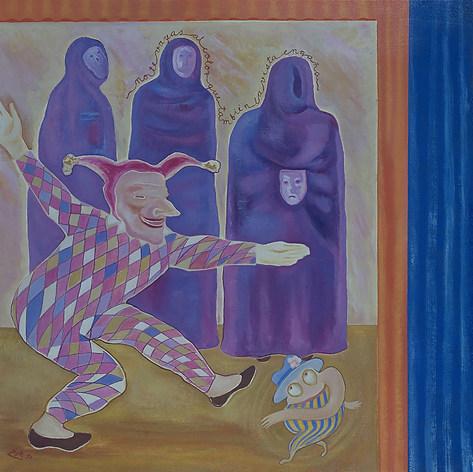 No te vayas al color que  la vista también engaña  1990 Óleo / tela 123 cm x 153 cm