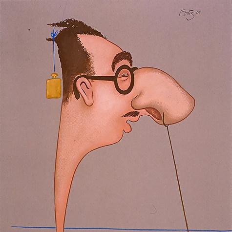 """Héctor Lomelí. """"Rara nariz se endereza con la ayuda de una pesa"""" 1968 Acrílico / papel 70.4 cm x 59.1 cm"""