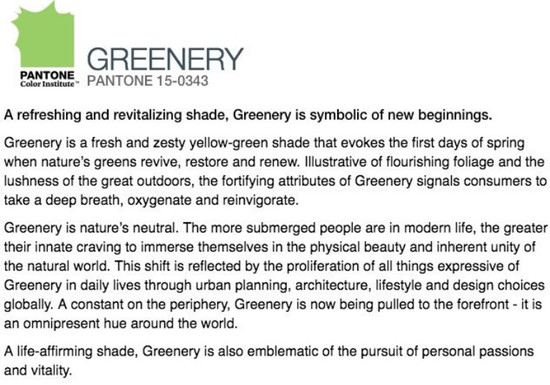 Pantone Announces Greenery as Color of the Year