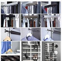 Closet's Accessories Valet rods, belts rack, wall organizers, closet's hooks