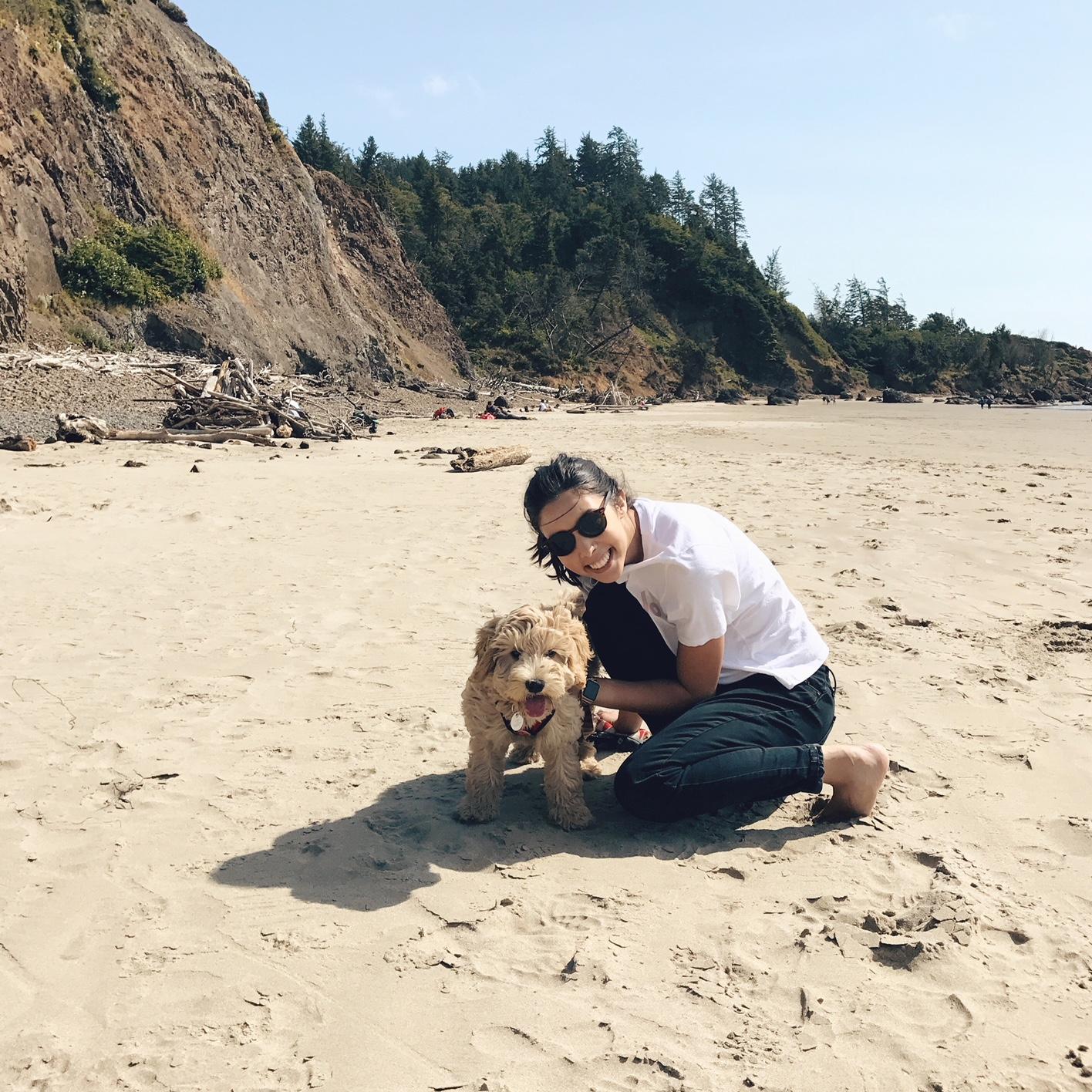 Lola at the beach