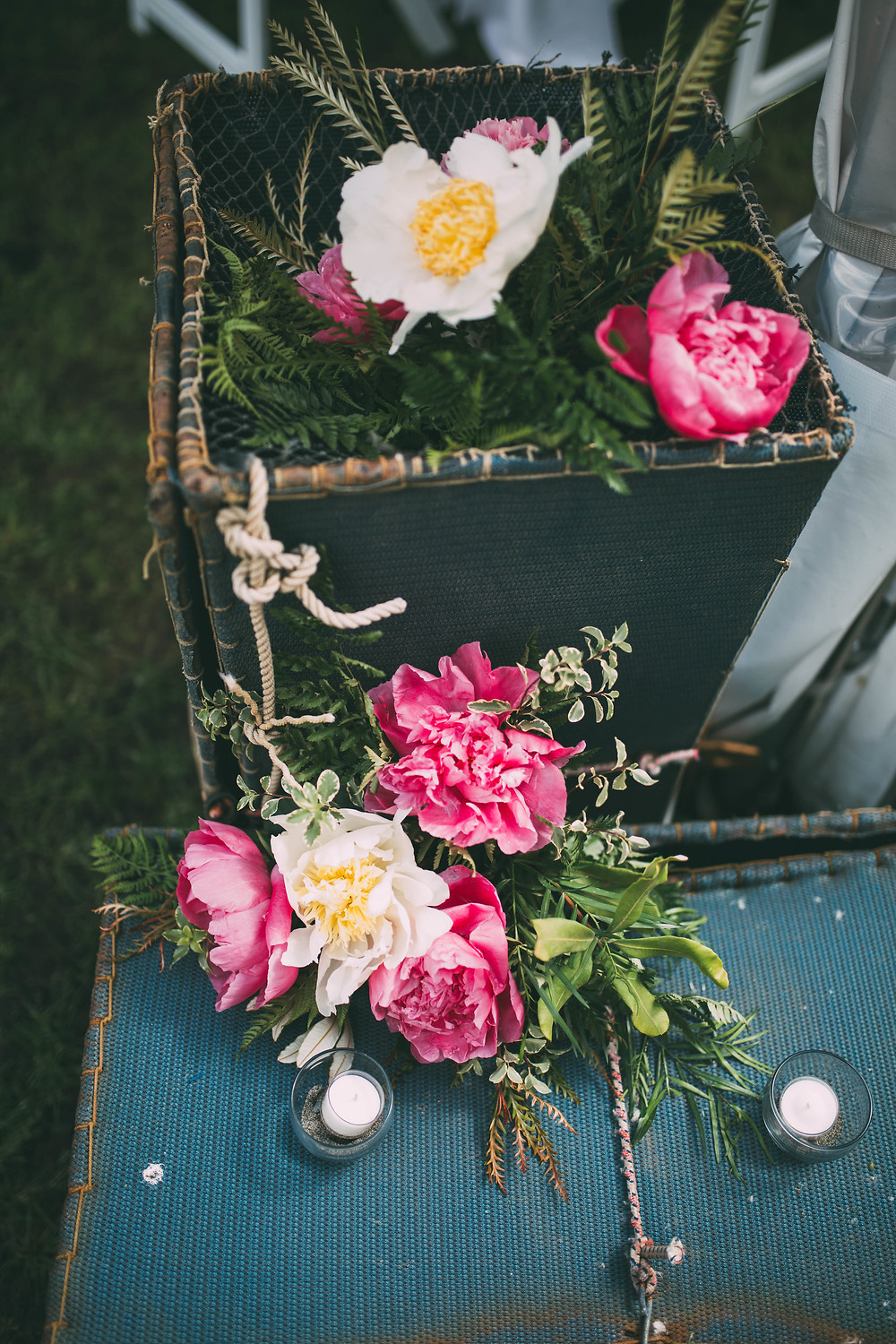 white, blush and pink peonies on shrimp pots