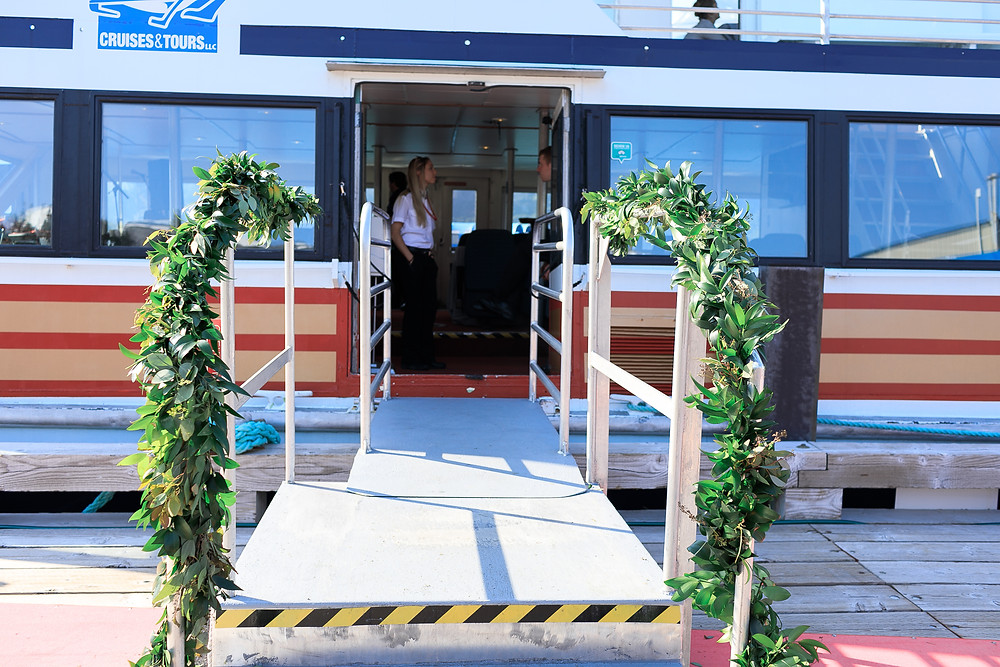 Greenery garland to dress up Chartered glacier cruise, micro wedding Alaska