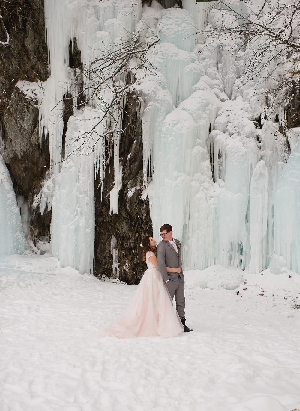 Snowy, winter Alaska elopement
