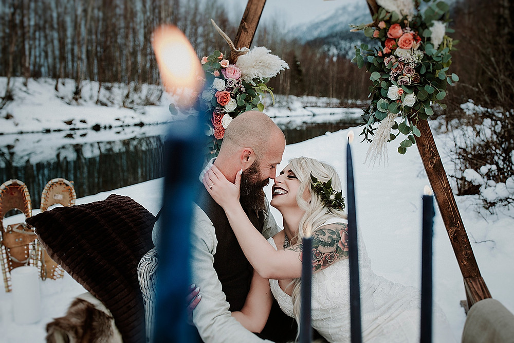 Alaska snowy winter elopement with a Nordic, Viking theme