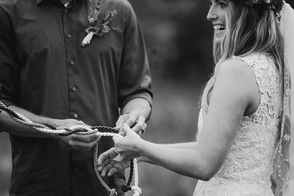Christian ceremony with God's Knot, Alaska elopement officiated by minister