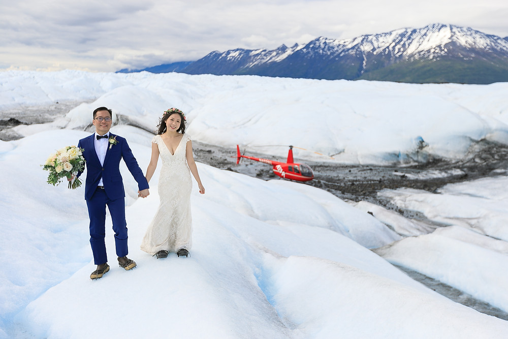 Elope to Alaska with La Boum Events - helicopter to a glacier