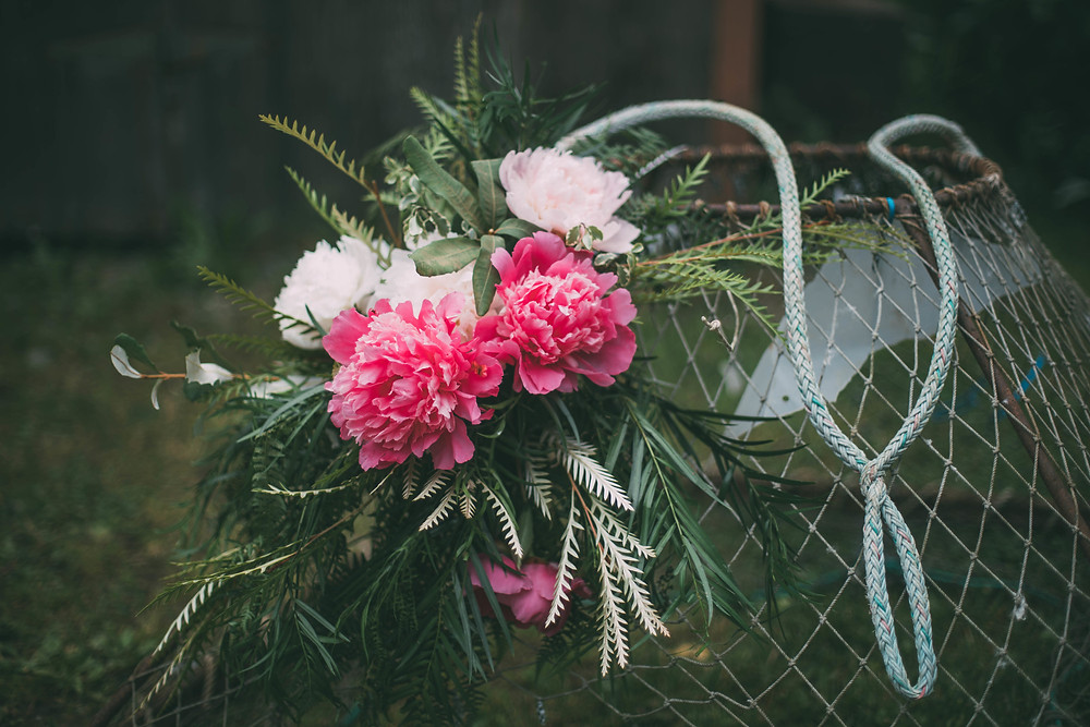 Scenic Place Peonies, Homer, AK pink and blush peony fishing themed centerpiece #fieldtovase