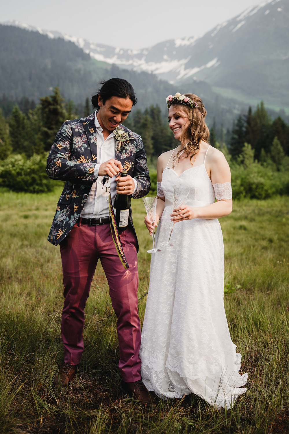 Toast to love, great details when eloping to Alaska