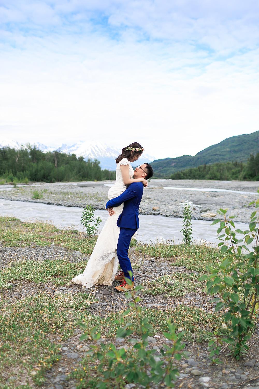 Mountain backdrop Alaska elopement with La Boum Events