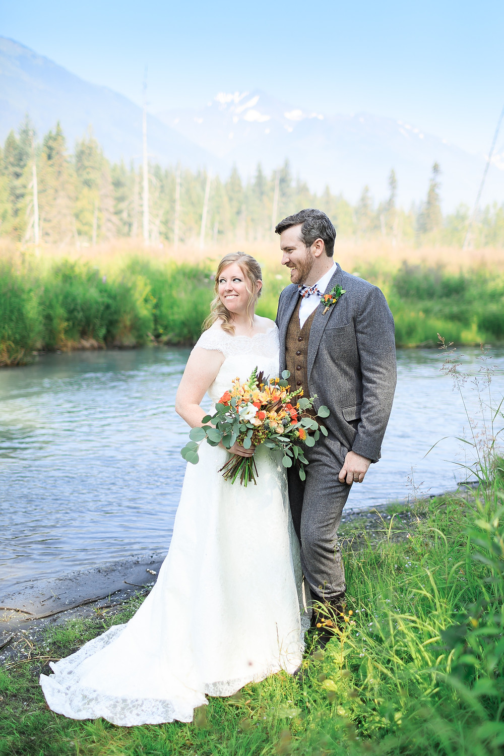 Natural tones and orange wedding Alaska destination wedding