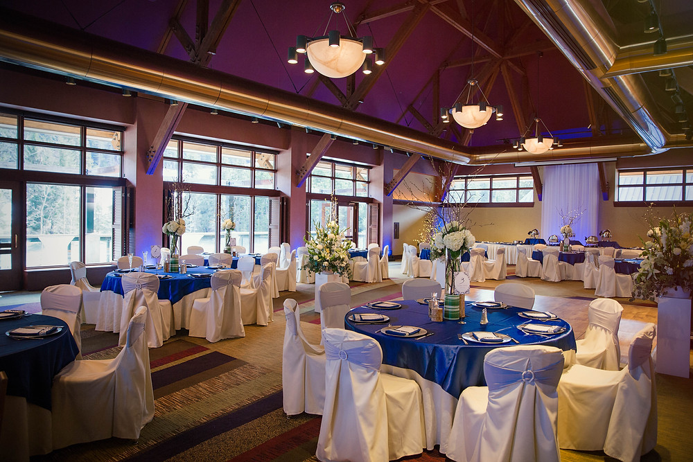 Navy and silver wedding reception at Alyeska Resort