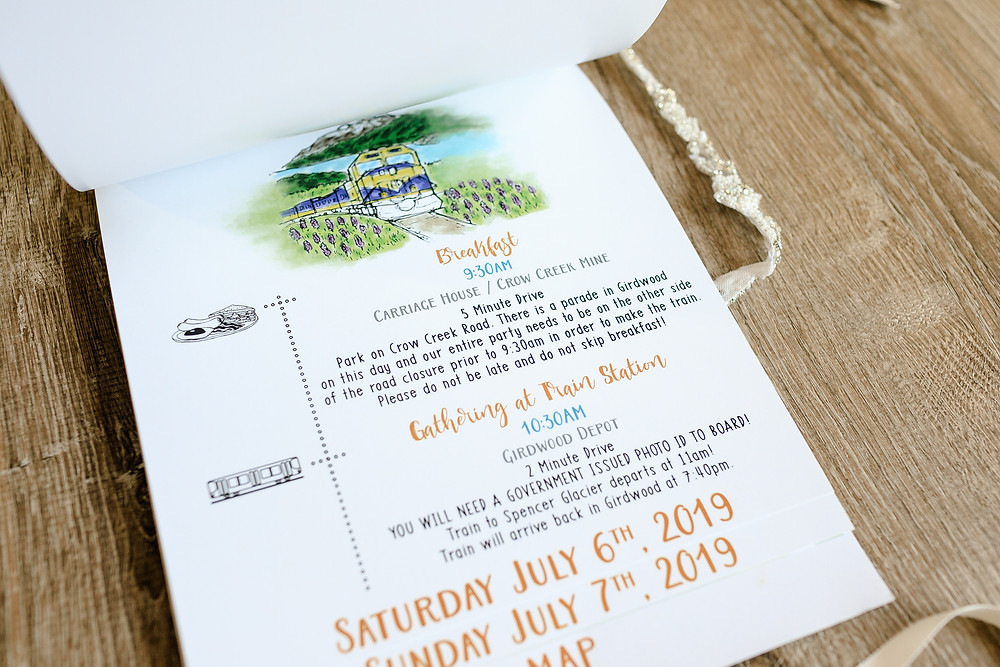Custom maps and timeline for Alaska destination wedding