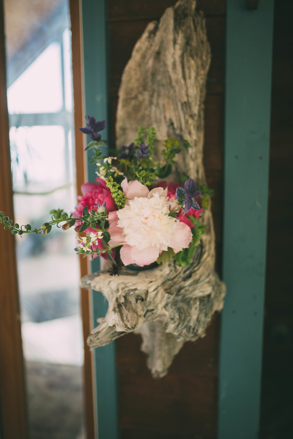 Peony floral arrangement on driftwood, Homer, AK, Field to Vase Dinner