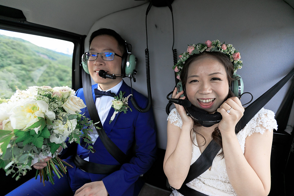 Helicopter out to your elopement in style with La Boum Events