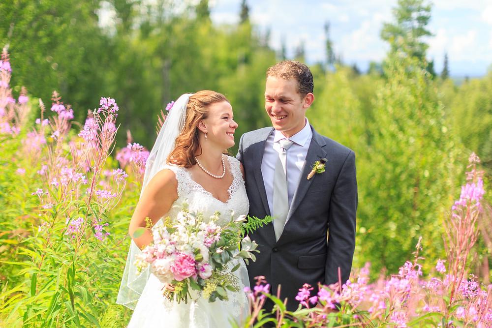 Talkeetna Alaska Lodge Wedding field of fireweed