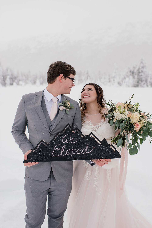 """""""We eloped"""" sign by La Boum Events, elopement planner"""