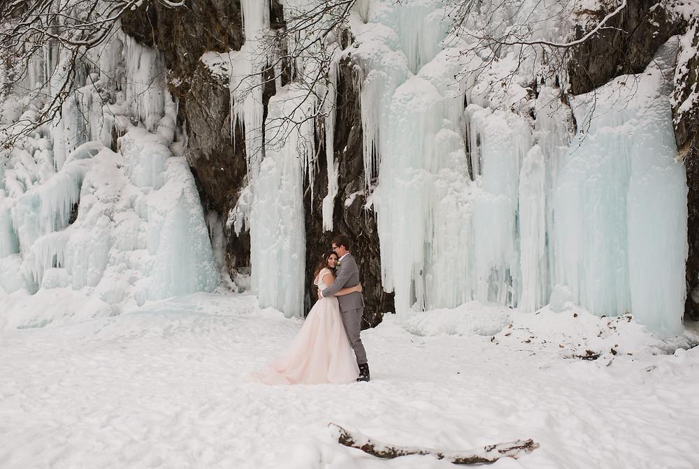Alaska snowy winter elopement with ice falls