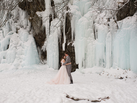 Romantic Winter Ceremony with Ice Falls and Vintage Touches