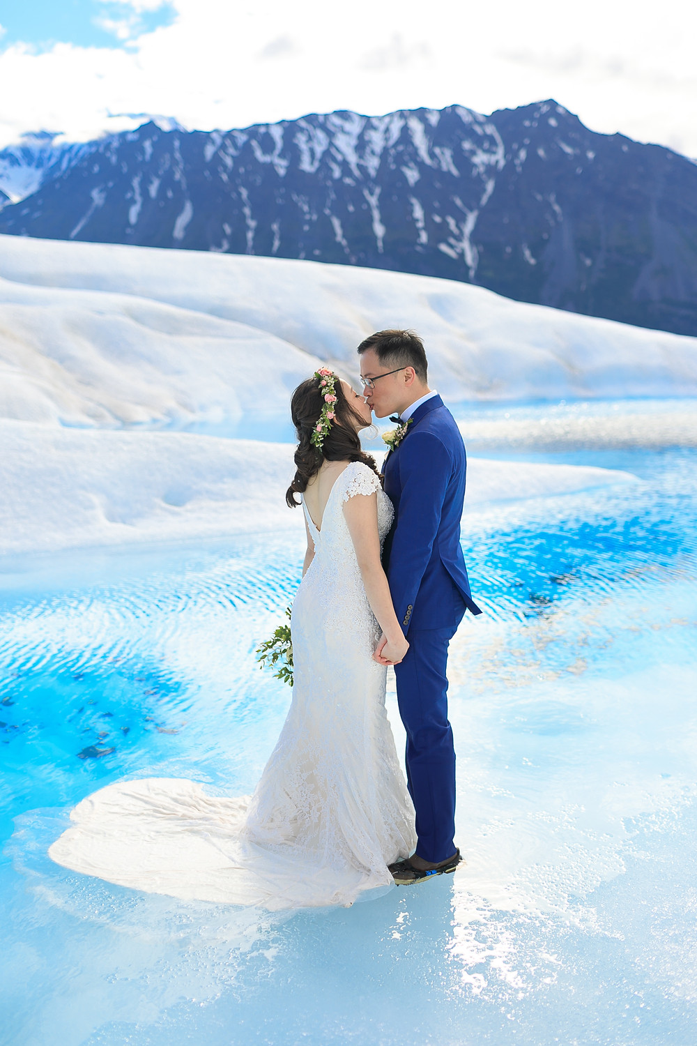 Helicopter out to a glacier for an intimate elopement with La Boum Events