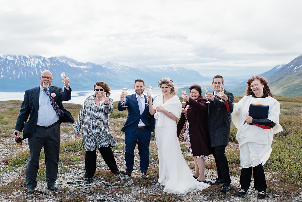 Helicopter ceremony, Elope to Alaska with guests, private and remote location