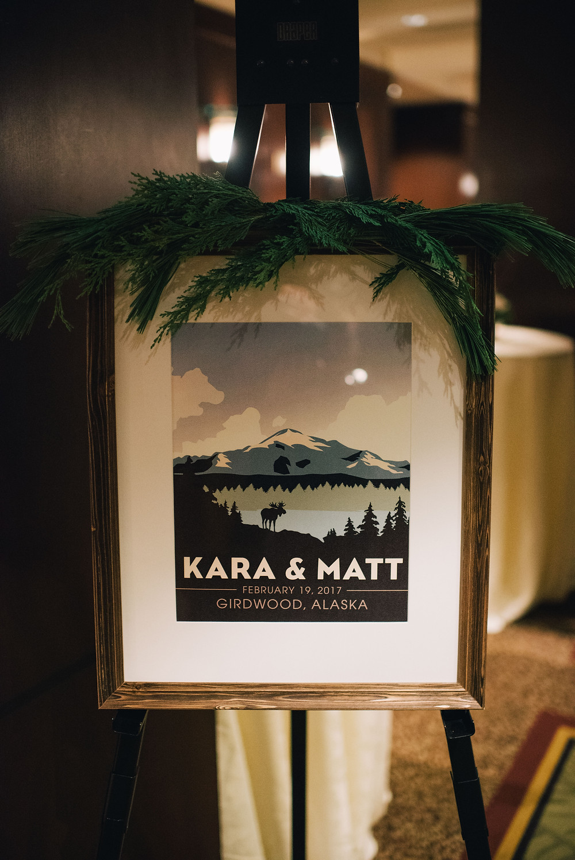 custom wedding signage with greenery for winter wedding