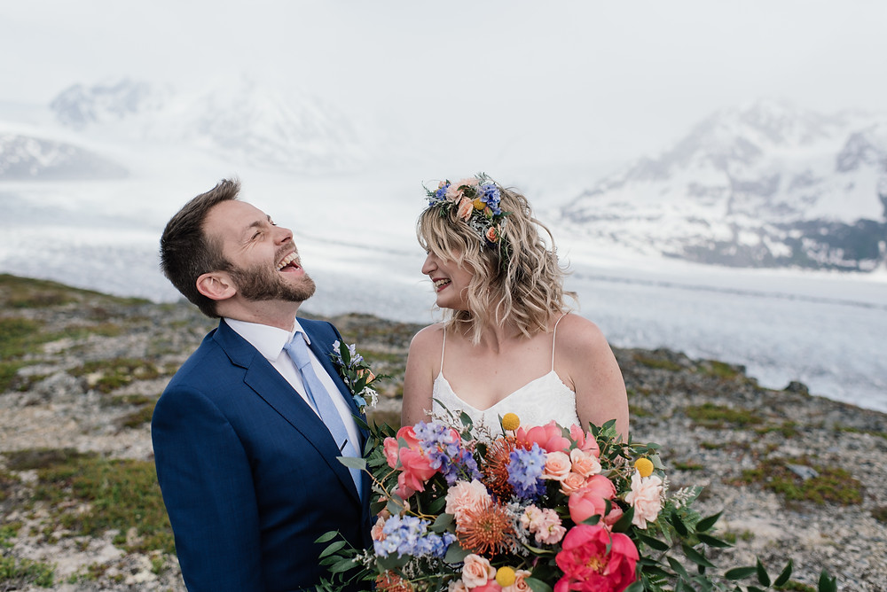 super fun, belly laughter, peony alaska bridal bouquet Helicopter ceremony, Elope to Alaska with guests, private and remote location